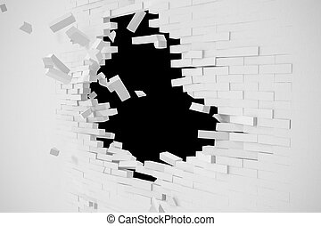 Destruction of a white wall with blank text. 3d illustration
