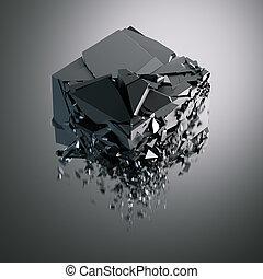 Destruction of black glossy cube. 3d rendering