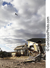 destruction, ouragan, sablonneux