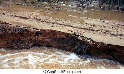 Destruction process. Flooding after rain season, 1080p.