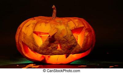 Destruction pumpkin jack o lantern