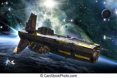 destructor, planeta, nave espacial