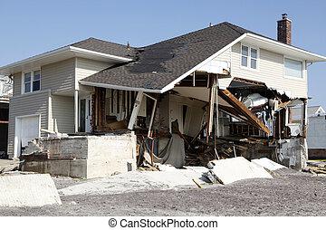 destruição, furacão, arenoso