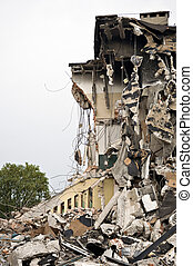 destruido, edificio, debris., serie