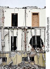 destruido, serie, edificio, debris.