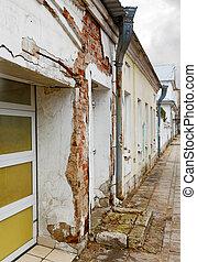 destruir, edifícios, ligado, um, rua cidade