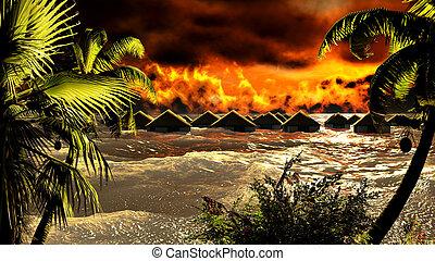 destruir, tsunami, bungalows