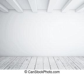 desván, con, piso de madera