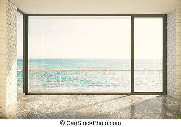 desván, piso, grande, océano, ventana, habitación, vacío, vista