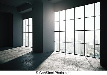 desván, render, windows, grande, backlit, interior, vacío, ...