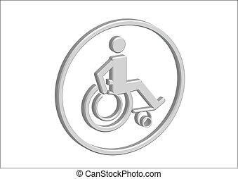 desvantagem, cadeira rodas, 3d, desenho, ícone