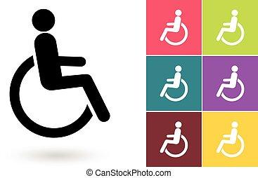 desvantagem, símbolo, incapacitado, vetorial, ou, ícone