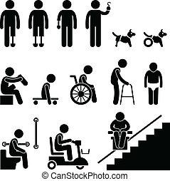 desventaja, disable, amputee, hombre de la gente
