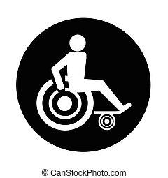 desventaja, icono, incapacitado
