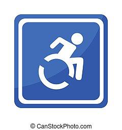 desventaja, incapacitado, símbolo, inválido, icono