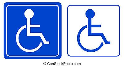desventaja, persona, sílla de ruedas, o, symbo
