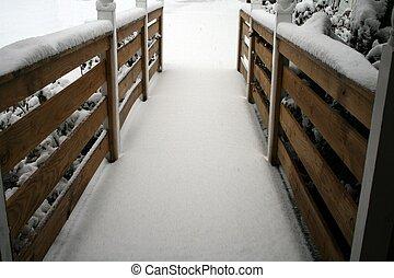 desventaja, resbaladizo, rampa, nieve