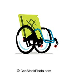 desventaja, sílla de ruedas, vector, caricatura,...