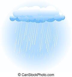 deszcz chmura, na białym
