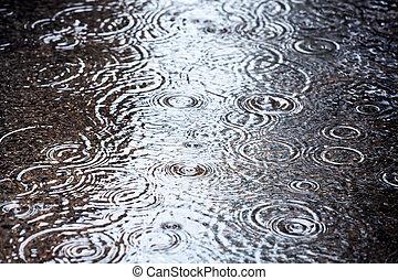 deszcz, kałuża
