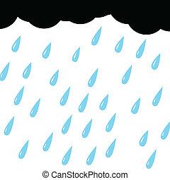 deszcz, z, chmura, na białym, tło