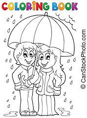 deszczowy, kolorowanie, 1, temat, książka, pogoda