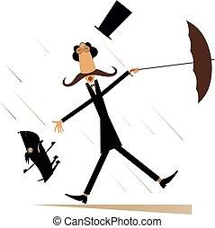 deszczowy, parasol, pies, odizolowany, wietrzny dzień, człowiek