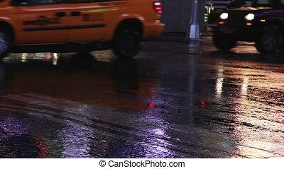 deszczowy, skwer, czasy, york, mokry, nowy, noc