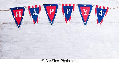 deszkák, fából való, negyedik, július, ünnep, transzparens, fehér