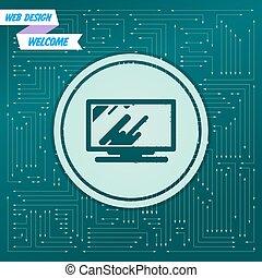 det forekomme, forskellige, board., det, pile, ikon, dataskærm, vektor, grønne, elektroniske, computer, directions., baggrund