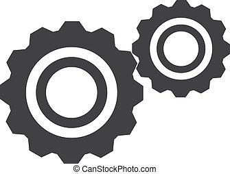 det gears, ikon, ind, sort, på, en, hvid, baggrund., vektor, illustration