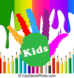 det gengi'r, børn, handprint, spektrum, menneske, colourful
