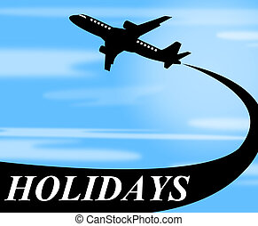 det gengi'r, luft, forlad, flyvemaskine, gå, ferier