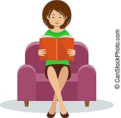 det læser, kvinde, unge, stol, siddende
