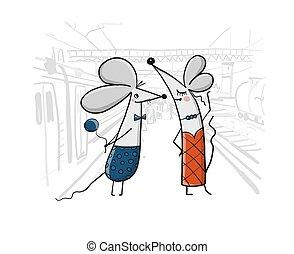 det mouses, cityscape, gilde, baggrund, morsom