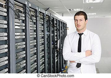 det, rum, ingeniør, datacenter, server, unge