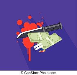 det stänker, kniv, kontanter, blod