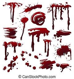 det stänker, set., vektor, blod, illustration