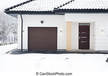 Detached house during winter time