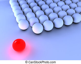 Outstanding bright red sphere near other blue sphere - 3d render