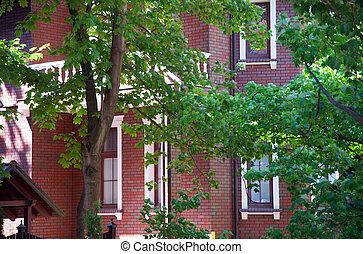 Detached suburban house. Front view.