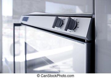 detai, architettura moderna, forno, bianco, cucina