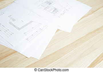 detail, architektura, blueprint.