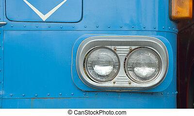 detail, auf, der, scheinwerfer, von, a, weinlese, bus