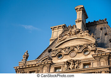 Detail building Louvre in Paris