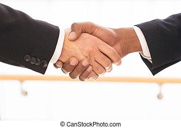 detail, business voják, deal., ruce, pečetění, otřes