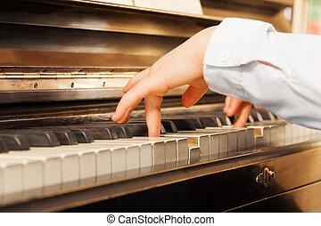 detail, dítě, ruce, klavír hraní, názor