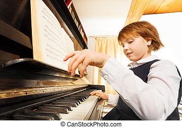 detail, děvče, ruce, klavír hraní, názor