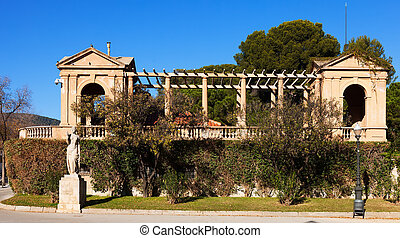 Detail enclosure access to the Royal Palace of Pedralbes. ...
