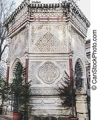 Detail from marble carvings of Kececizade Fuat Pasha Mosque in Fatih, Istanbul
